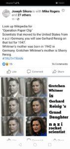 Michigan Gov. Gretchen Whitmer is Nazi Rocket Scientist Gerhard Reisig's Grand Daughter