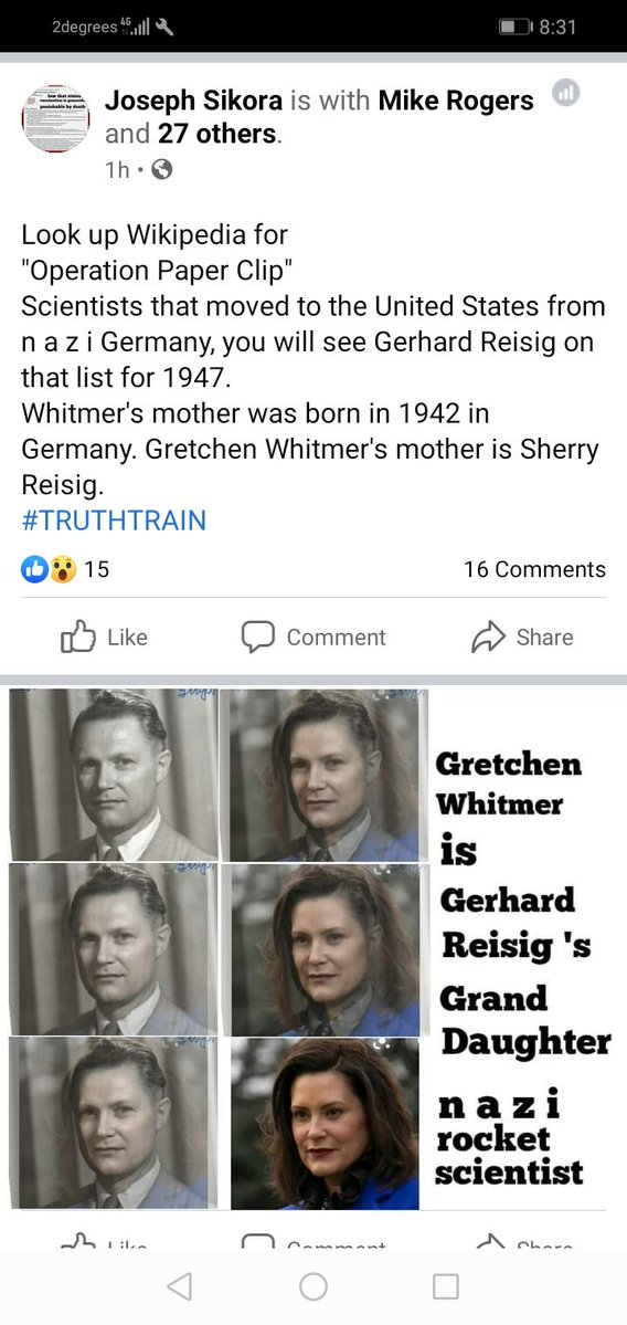 Michigan Gov. Gretchen Whitmer is Nazi Rocket Scientist Gerhard Reisig's Grand Daughter