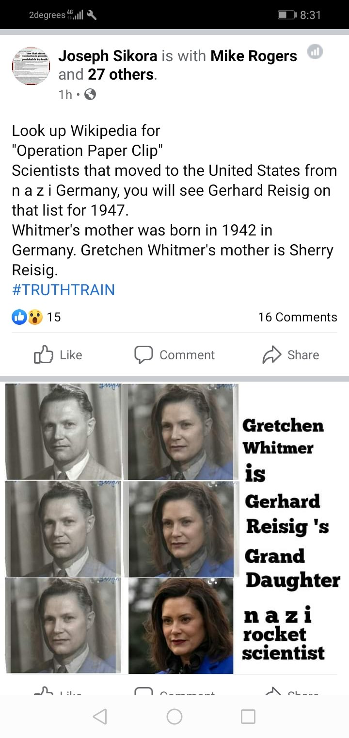 Michigan Gov. Gretchen Whitmer is Nazi Rocket Scientist Gerhard Reisig 's Grand Daughter