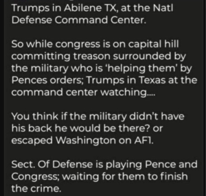 Sect. Of Defense is playing Pence and Congress; waiting for them to finish the crime?