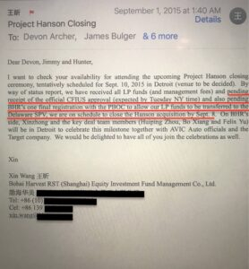 James Bulger & Hunter making deals with CCP company?