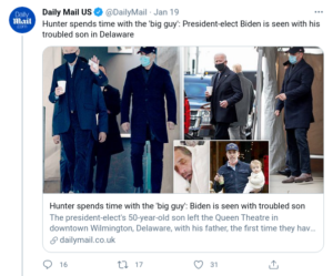 Hunter spends time with the 'big guy': President-elect Biden is seen with his troubled son in Delaware