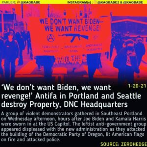 'We don't want Biden, we want revenge!' Antifa in Portland and Seattle destroy Property, DNC Headquarters