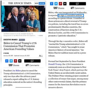 Biden to Cancel Trump's 1776 Commission That Promotes American Founding Values – Still watching a movie