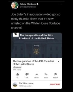 Joe Biden's inauguration video got so many thumbs down that it's now unlisted on the White House YouTube channel.