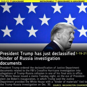 President Trump ordered the declassification of Justice Department documents related to the FBI's Crossfire Hurricane investigation into allegations of Trump-Russia collusion in one of his final acts in office.