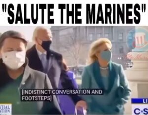 Joe Biden's ear piece telling him salute the Marines 25th Amendment