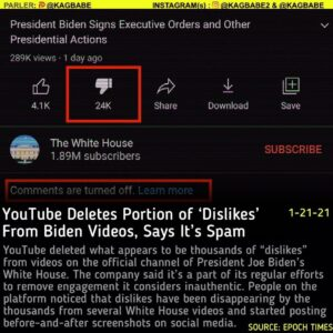 "YouTube deleted what appears to be thousands of ""dislikes"" from videos on the of"