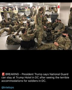 POTUS has allowed Troops to stay at Trump Hotel in DC