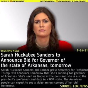 Read more about the article Sarah Huckabee Sanders, the former press secretary for President Trump, will ann