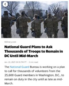 "Keeping troops in DC until March, because ""more riots"" may occur?What riots? I"