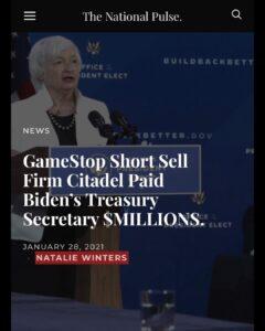 GameStop Short Sell Firm Citadel Paid Biden's Secretary Secretary $MILLIONS: