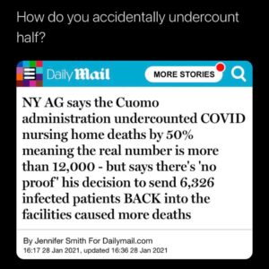 How do you accidentally undercount half? – NY AG says the Cuomo administration undercounted COVID nursing home deaths by 50%