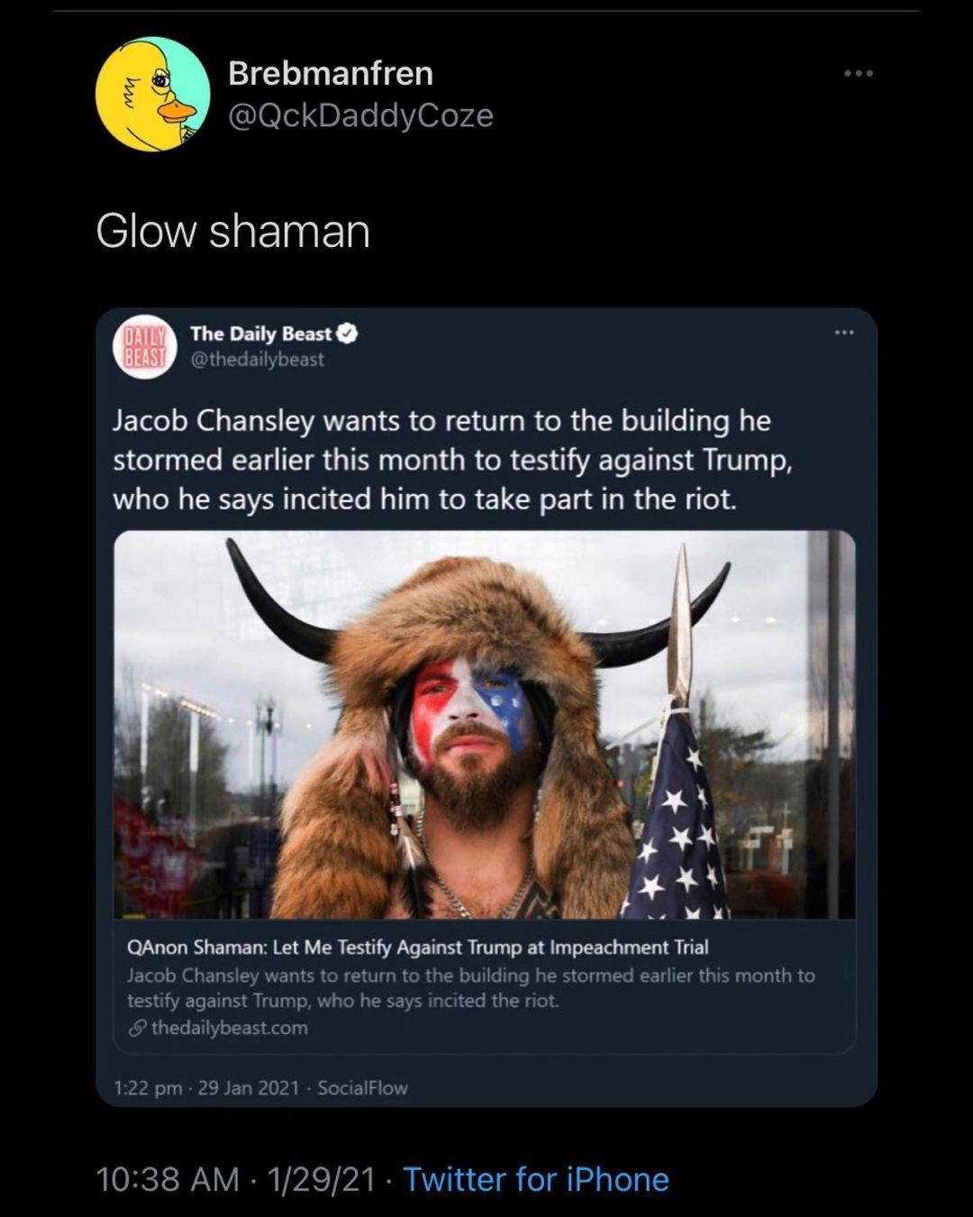 You are currently viewing Glow shaman  Jacob Chansley wants to return to the building he stormed earlier t