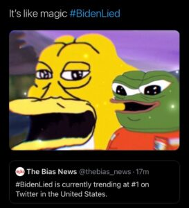 #BidenLied is currently trending at #1 on Twitter in the United States