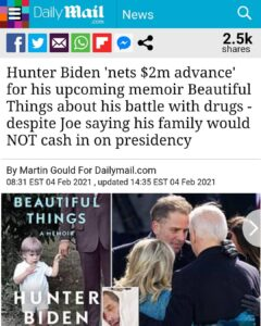 Hunter Biden 'nets $2m advance' for his upcoming memoir Beautiful Things about his battle with drugs – despite Joe saying his family would NOT cash in on presidency