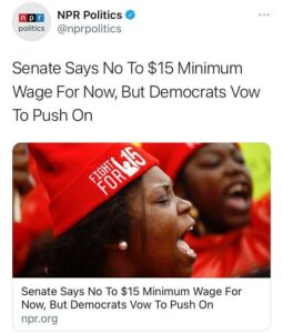 Senate Says No To $15 Minimum Wage For Now, But Democrats Vow To Push On
