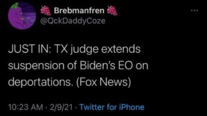 JUST IN: TX judge extends suspension of Biden's EO on deportations.