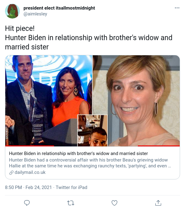 You are currently viewing Hit piece! Hunter Biden in relationship with brother's widow and married sister