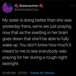Thank you for all your prayer frens, If you can continue to keep her in your pr