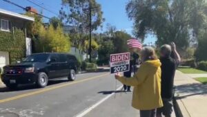 Massive Crowd of Two Supporters Welcomes 81 Million Vote Recipient Kamala Harris Back to Her California Home (Video)