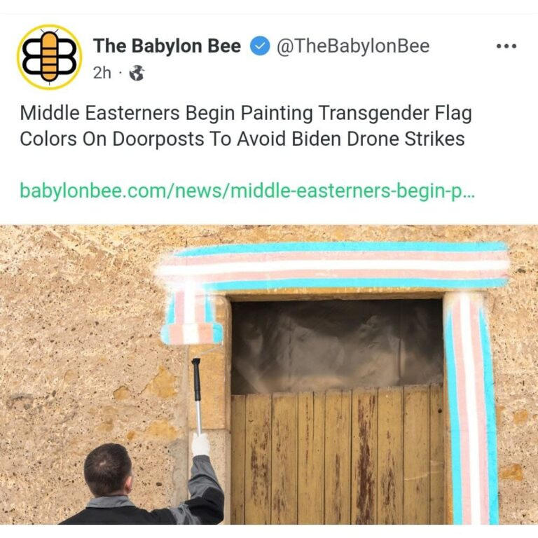Middle Easterners Begin Painting Transgender Flag Colors On Doorposts To Avoid Biden Drone Strikes