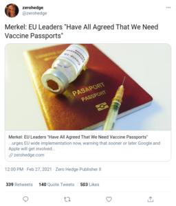 """Merkel: EU Leaders """"Have All Agreed That We Need Vaccine Passports"""""""