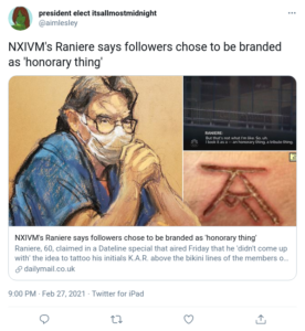 NXIVM's Raniere says followers chose to be branded as 'honorary thing'