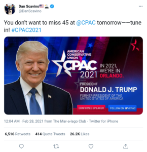 You don't want to miss 45 at @CPAC tomorrow——tune in! #CPAC2021