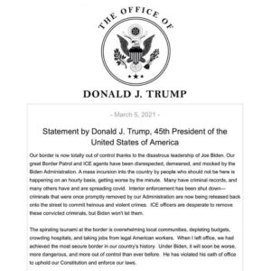 Read more about the article Statement by Donald J. Trump, 45th President of the United States of America