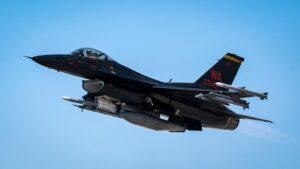 Aggressive takeoff.A 64th Aggressor Squadron F-16 Fighting Falcon takes off dur