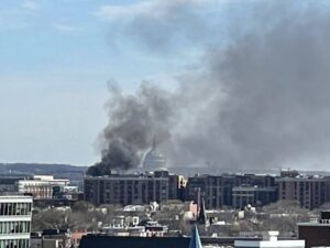 HAPPENING NOW: Smoke seen rising from a fire near the U.S. Capitol Building