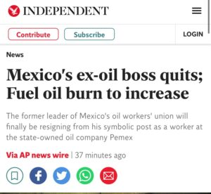 Read more about the article Mexico's ex-oil boss quits; Fuel oil burn to increase