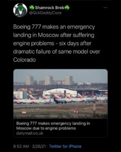 Read more about the article Boeing 777 makes an emergency landing in Moscow after suffering engine problems