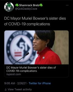 DC Mayor Muriel Bowser's sister dies of COVID-19 complications