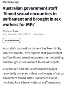 Australian government staff filmed sexual encounters in parliament and brought i