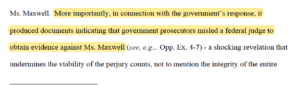 Ghislaine Maxwell developments – Is there an issue with the Govt's case?Seri