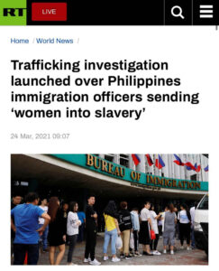 Trafficking investigation launched over Philippines immigration officers sending 'women into slavery'