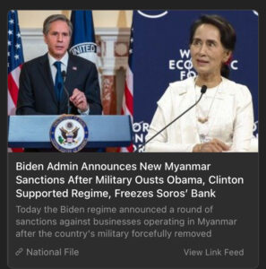 Read more about the article Biden Admin Announces New Myanmar Sanctions After Military Ousts Obama, Clinton Supported Regime, Freezes Soros' Bank – National File