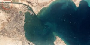 NEW  The giant Ever Given ship in Suez Canal is visible from space (Satellite Ph