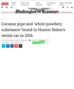 Read more about the article Cocaine pipe and 'white powdery substance' found in Hunter Biden's rental car in 2016