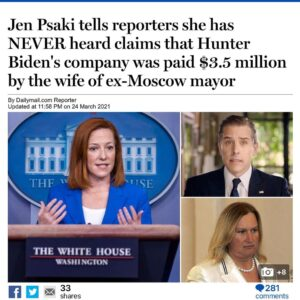 Read more about the article Jen Psaki tells reporters she has NEVER heard claims that Hunter Biden's company was paid $3.5 million by the wife of ex-Moscow mayor