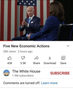 Is YouTube Removing Public 'Dislikes' Count Totals Because Biden Is So Terribly Disliked?