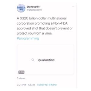 Read more about the article A $320 billion dollar multinational corporation promoting a Non-FDA approved shot that doesn't prevent or protect you from a virus. #programming