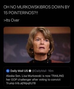 Read more about the article Alaska GOP Senator Lisa Murkowski is now TRAILING her Republican challenger by nearly 15 points after voting to convict Trump in his second impeachment trial