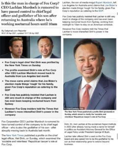 Read more about the article Is this the man in charge of Fox Corp? CEO Lachlan Murdoch is rumored to have passed control to chief legal officer and godfather of his son after returning to Australia where he's working nocturnal hours until 10am