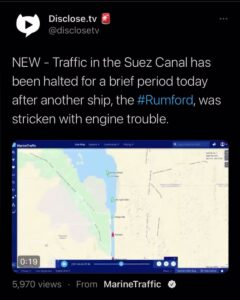 2 ship accidents in the Suez Canal in one day?! First one engine stalls out bloc