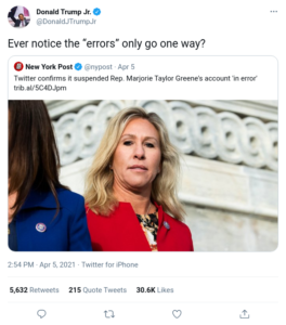Read more about the article Twitter confirms it suspended Rep. Marjorie Taylor Greene's account 'in error'