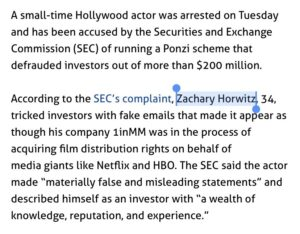 Read more about the article >ponzi scheme  >Horwitz   Every time.