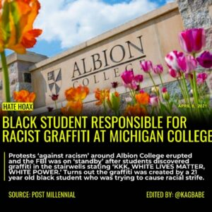 Read more about the article Officials have declared that racist graffiti found in Albion College was done by